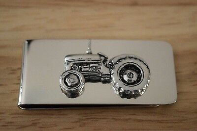 Tractor Money Clip T20 Ferguson Silver Plated with Pewter Emblem Farming Gift