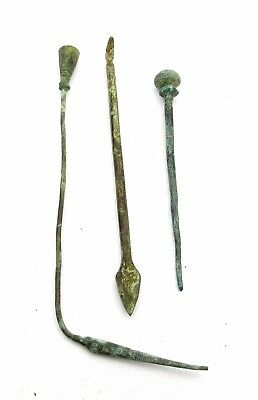 Lot Of 3 Roman Bronze Medical / Cosmetic Tools - Ancient Artifact - P150