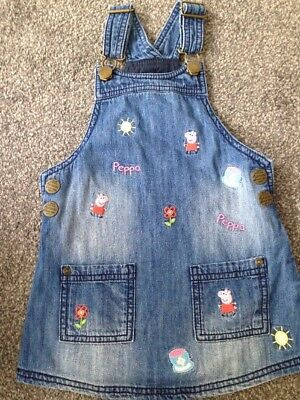 Next Denim Peppa Pig Pinafore Dress Age 2-3