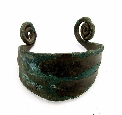 Celtic/bronze Age Bracelet/arm Ring W/ Coiled Terminals - Lovely Wearable - P151