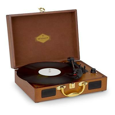 Auna Retro Vinyl Turntable Built in Speaker Stereo System USB Cable Portable