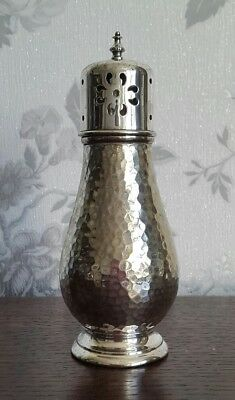 A Vintage Silver Plated Sugar Sifter in a Hammered Design