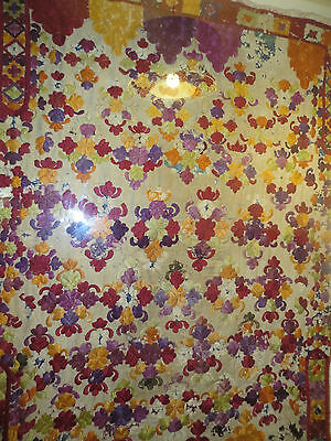 Museum quality/large silk Moroccan tapis,framed/ Plexiglass/52 insx42 ins mount