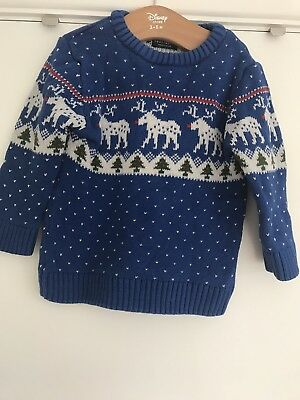 Boys Blue Next Christmas Jumper 12-18 Months