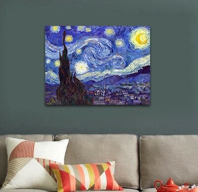 Canvas Print Van Gogh Painting Reproduction Home Decor Wall Art Starry Night