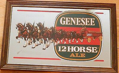 GENESEE 12 Horse Ale Mirror Sign