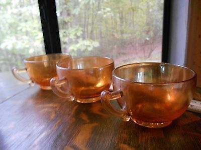 3 vintage marigold Carnival iridescent Greek Deco great condition cups