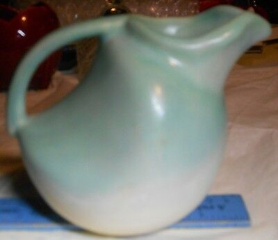 antique Niloak art pottery signed aqua ivory small vintage pitcher vase creamer
