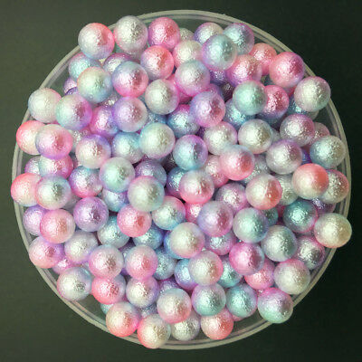 200PCS 4mm Light Colour NO HOLE Acrylic Round Pearl Spacer Loose Beads Jewelry