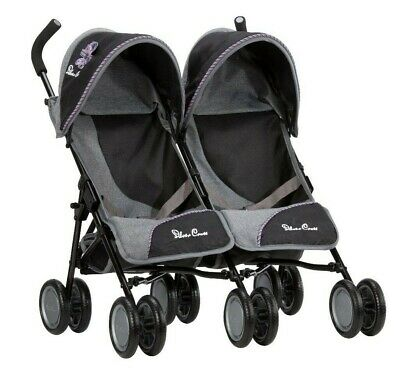 Silver Cross Pop Twin Dolls Pushchair - Eton Grey Fabric