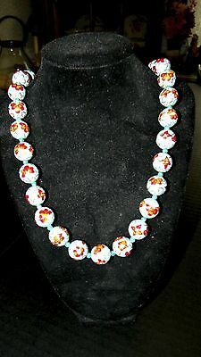 """Vintage Chinese Cloisonné Bead Necklace - Multi Floral on blue - VERY NICE 36"""""""