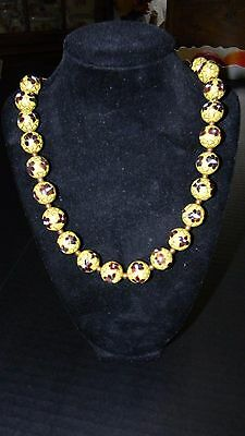 """Vintage Chinese Cloisonné Bead Necklace - Multi Floral on yellow - VERY NICE 30"""""""