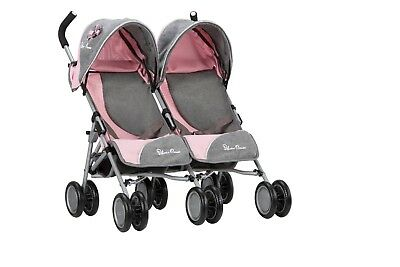 Silver Cross Pop Twin Dolls Pushchair - Vintage Pink Fabric