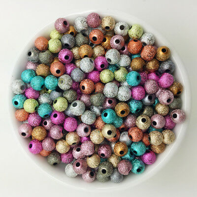 NEW DIY 100PCS 6mm Acrylic Round Pearl Spacer Loose Beads Jewelry Making MSZ