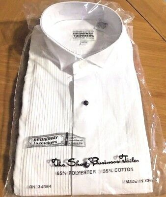 New Broadway Tuxmakers Men's Pleated Tuxedo Shirt With Wingtip Collar