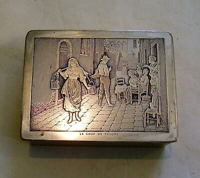Antique  Silver Plated & planished brass Cigarette Box