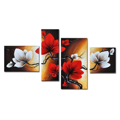 Original Hand Paint Canvas Oil Painting Home Decor Wall Art Flowers On Brown