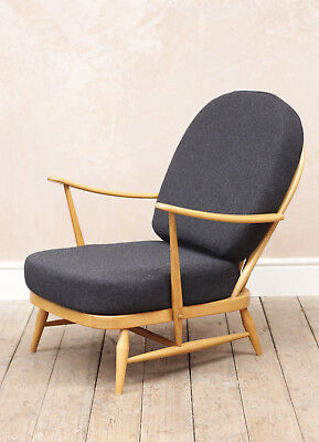 Vintage Retro Mid Century Blonde Ercol Easy Armchair (fully Reupholstered)
