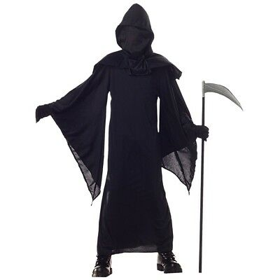 Kids Black Horror Robe Costume Death Grim Reaper Boys Halloween Party Outfit