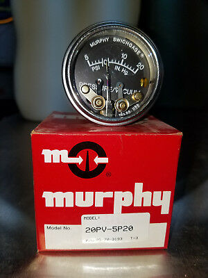 Murphy Pressure & Vacuum Gauge #20Pv-5P20 New Old Stock