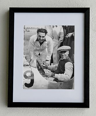 Motor Sport - Framed and mounted photograph: Tazio Nuvolari and John Cooper