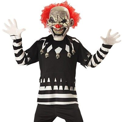 Kids Creepy Clown Halloween Costume Scary Horror Funny Circus Party Outfit +Mask