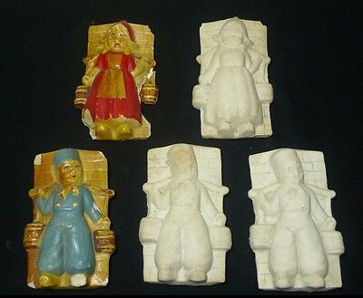 Lot of 5 Vtg Chalkware Dutch Boy & Girl with Water Pails Unpainted Craft