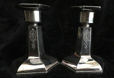 Pair of Vintage Silver Plated No Name Candle Stick Holders - Nice Engraving