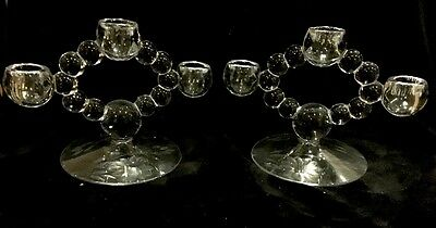 2 W.J. Hughes Etched Cornflower Crystal Imperial Candlewick 3 Lite Candle Holder