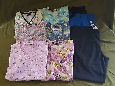 womans small xs scrubs lot 6 (2 tops xs) tops 2 bottoms very good condition
