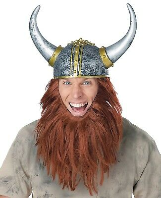 Viking Beard Helmet Costume Hat Medieval Times Barbarian Warrior Party Prop