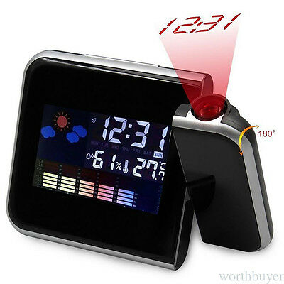 Projection Alarm Clock Digital Weather LCD Snooze Projector Color LED Display