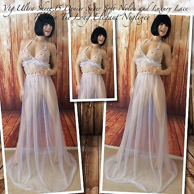 Vtg ULTRA Sheer 15 Denier Super Soft Nylon With Stunning Detailed Lace Negligee