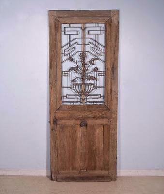 "*Antique French 84"" Solid Oak Door with Iron Grille and Hinged Window Salvage"