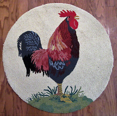 Vintage Hooked Rug Rooster Round Country Kitchen 32""