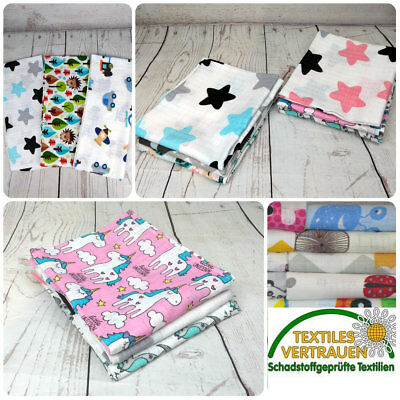 3 x  SOFT LARGE MUSLIN SQUARES Baby Boy Girl 100% COTTON EU  BEAUTIFULLY PRINTED