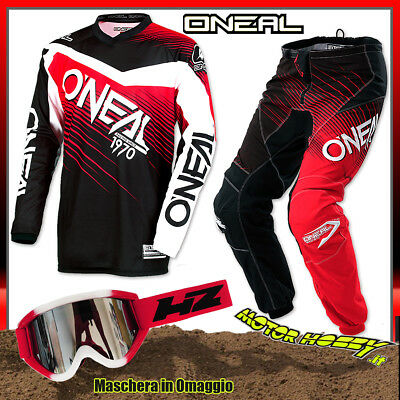 Completo Cross Enduro O'neal Oneal Element Racewear Black Red Taglia.30--S