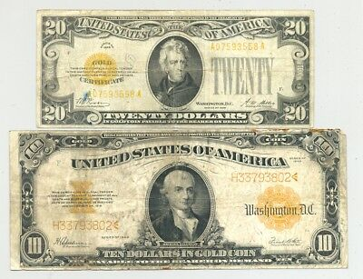 $20 small and $10 large size (Series 1922 and 1928) Gold Certificates no reserve