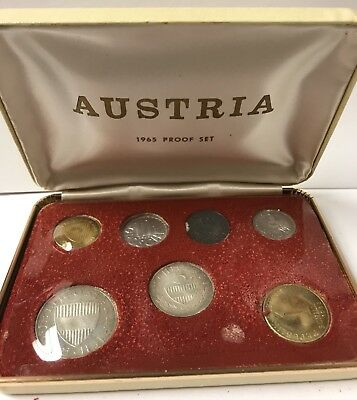 1965 Austrian Proof Set - 7 coins ( includes 2 Silver Coins) with Box