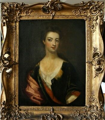 Glorious Late 17Th Century Lady Oil  Painting On Canvas - Superb Frame