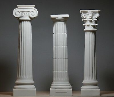 SET 3 Columns Pillars Ionic Doric Corinthian Order Architecture Decor Sculpture