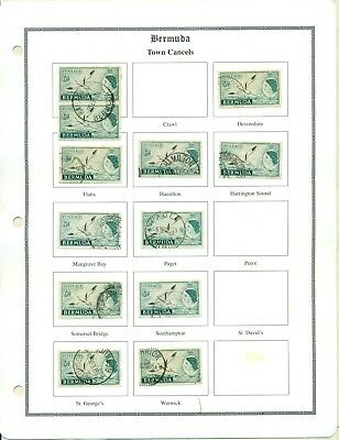 LOT 847 QEII 1952 SERIES 6d TOWN CANCELS ON BERMUDA SPECIALIZED PAGES NEW