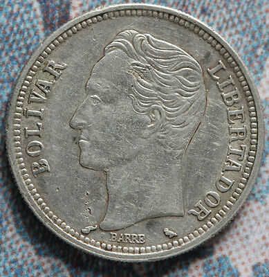 Venezuela 1960 2 Bolivares BOLIVAR  National arms 27 mm- Foreign Coin