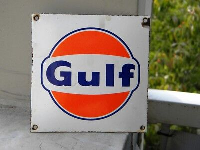 "GULF OLD PORCELAIN SIGN ~4-3/4"" x 4-3/4"" OIL PUMP GAS STATION ADVERTISING LUBE"