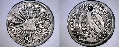 1854-Ga JG Mexican 1/2 Real World Silver Coin - Mexico - Holed