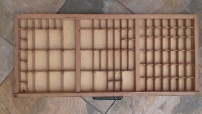 Vintage Wooden Display Printers Letter Tray With Compartments, Brass Caps