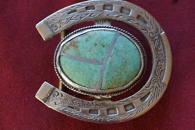 Vintage Silver Turquoise Horseshoe Belt Buckle Good cond. for its age . ( look )