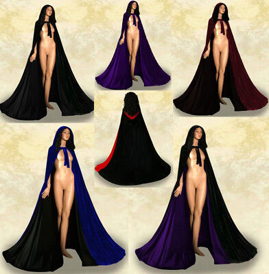 Hooded Velvet Cloak Gothic Vampire Wicca Robe Medieval Larp Woman Cosplay Cape