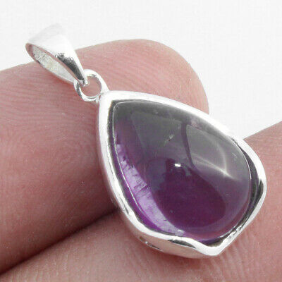"Genuine Purple Amethyst Solid 925 Sterling Silver Pendant Jewelry S 0.9"" #3074"