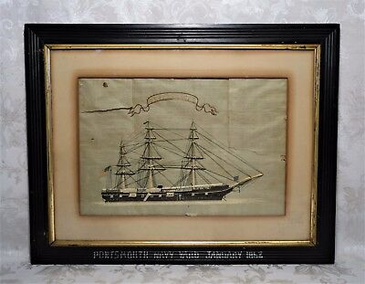 Antique 19th Century Needlework Silk Embroidery US Navy Civil War Clipper Ship